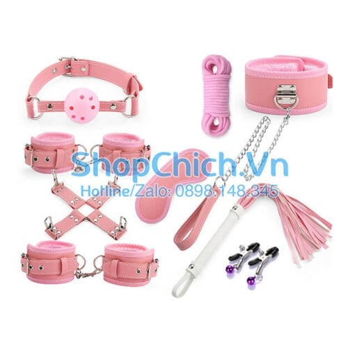 bộ đồ chơi bondage màu hồng cao cấp